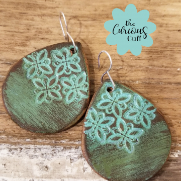 Moroccan Turquoise Teardrop Leather Earrings